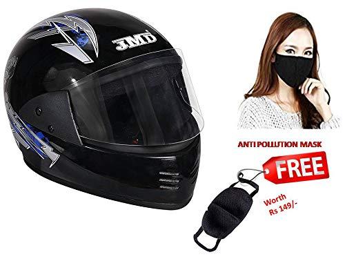 JMD Helmets Elegant Full Face Graphic Helmet for Men (Black and Blue, L)