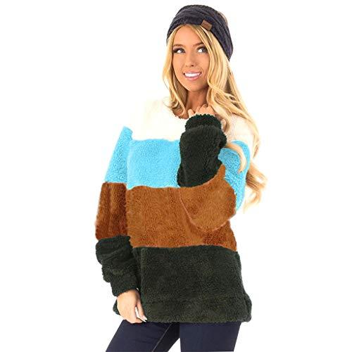 Kaister Sweatshirt Fuzzy Fleece Oberteile Damen Casual Langarm Farbe Block Pullover -