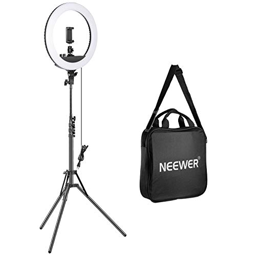 Neewer Kit di Luce LED Anulare Dimmerabile 14 Pollici,Inclusi:Compatta Luce LED Bicolore/Supporto Clip per Smartphone/Cavalletto/Tubo Flessibile/Testa a Sfera per Truccatura/Video