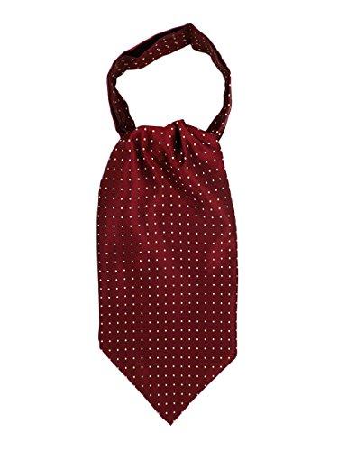WANYING Herren Krawattenschal Ascotkrawatte Schal Cravat Ties Einfach Schick für Gentleman - Gepunket Bordeaux - Krawatte Herren Seide Schal