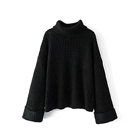 CHLXI Autumn And Winter Women's With Loose Fashion Half High Collar Roll Cuff Knitted
