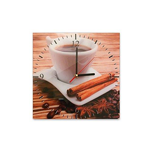 Bilderdepot24 Wanduhr aus Glas 30x30cm - 031 - Tasse Kaffee - Uhr aus Glas - Glasuhr - 3D Optik -...