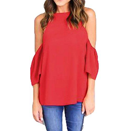 Juleya Femme T-Shirt Manche Courte Été Sexy Femmes Casual Col Profond hors Épaule Rouge
