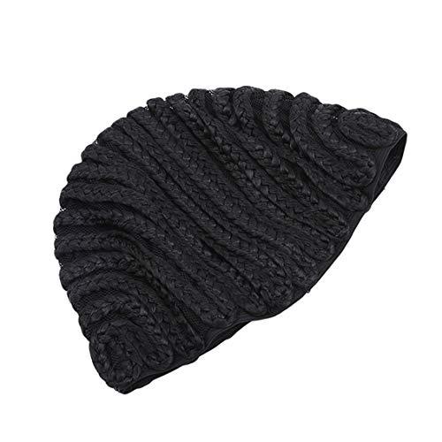 Yesiidor Braids Cap Black für einfacheres Nähen Haar-Schuss für diejenigen, die unter Haarausfall Leiden, geflochtene Perücken-Kappe -