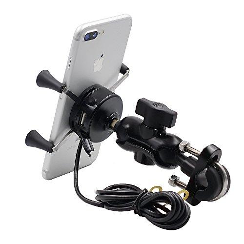 TurnRaise Aluminio Moto Soporte de Montaje con 2.1A Cargador USB Toma para Teléfono Móvil de 3.5 a 6 Pulgadas, GPS