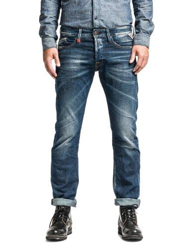 Replay Herren Straight Leg Hose Waitom M983 Blau (BLUE 7)