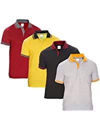 Baremoda Men's Polo T Shirt Grey Black Yellow And Maroon Combo Pack Of 4