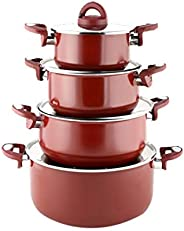 4-Piece Tefal Vetro Cooking Pot Set With Lid Red/Silver  /  9705/8S