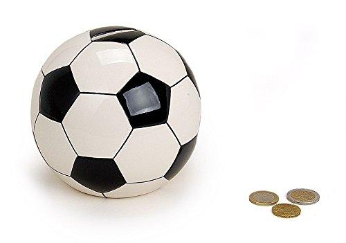 Spardose Fussball Ball rund aus Keramik Ø 13 cm groß schwarz weiß, Gelddose Sparbüchse abschließbar mit Schlüssel, Geschenk zur Geburt Taufe Geburtstag