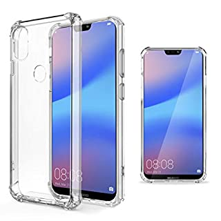 Moozy Transparent Silikon Hülle für Huawei P20 Lite - Stoßfest Klar TPU Case Handyhülle Schutzhülle