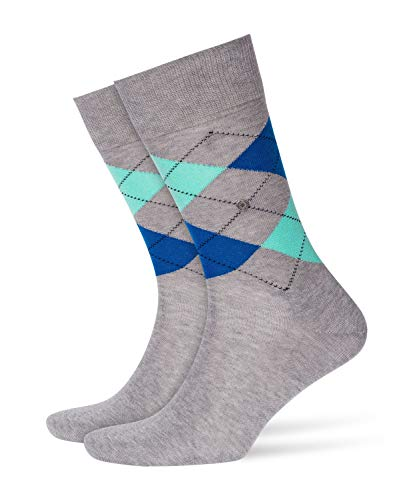 Burlington Herren Manchester klassisches Argyle Muster 1 Paar Casual Socken, Blickdicht, grau (Light Grey 3639), 40/46