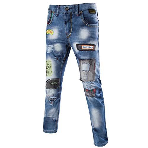 Männer Jeans Gerade Mid-Rise-Hose Baumwolle Gewaschen Bleaching Patch Slim Fit Schlank Mode Wild Vier Jahreszeiten Jeans für Herren,30 -
