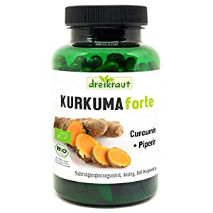 Kurkuma Forte Bio von dreikraut – Kurkuma + Curcumin 95% + Piperin, 160 vegane Kapseln, je 465mg, Deutsche Herstellung, ausgewogene Rezeptur, frei von Zusätzen, rückstandsgeprüft