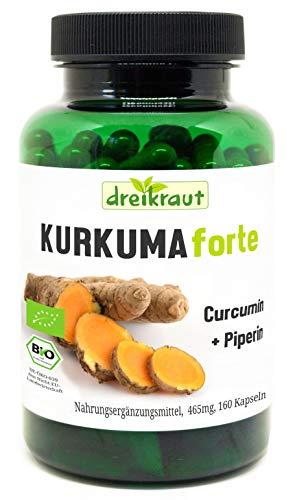 Kurkuma Forte Bio von dreikraut - Kurkuma + Curcumin 95{a003630f4df7aacebeb70acb3a8d8f8d37b41e6ff94e623674cdd40db563b04f} + Piperin, 160 vegane Kapseln, je 465mg, Deutsche Herstellung, ausgewogene Rezeptur, frei von Zusätzen, rückstandsgeprüft