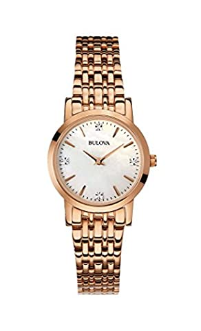 Bulova Diamond Women's Quartz Watch with Mother of Pearl Dial Analogue Display and Rose Gold Ion-Plated Bracelet