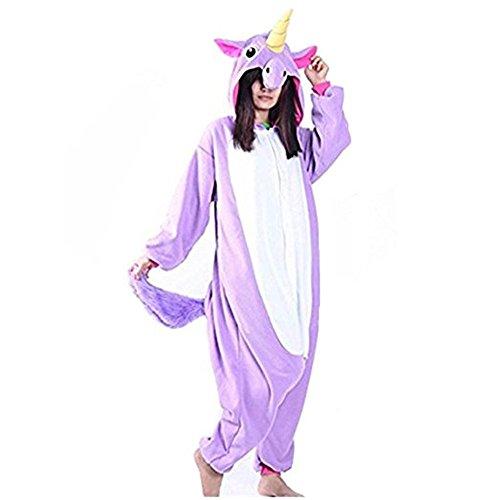 Pyjama Nachtwäsche Cosplay Kostüm Unicorn Schlafanzüge Für Erwachsene (S, Lila) (Kinder Kreative Halloween-kostüme)
