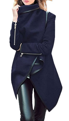 Smile YKK Cardigan Femme Lin Manteau Veste Automne Hiver Tops à Manches Longues Mode Bleu