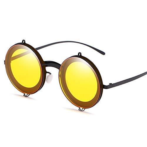 ZHAS High-End-Brille Runde Sonnenbrille Frauen Männer Metall Sonnenbrille Retro Flip Up Brille Double Layer Clamshell Design Personalisierte High-End-Sonnenbrille GELB