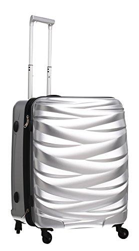 PURE Koffer WAVE / Hartschale / 60 cm / M / mittlerer Koffer / Trolley / robustes PET / silber / 4 Rollen / TSA Zahlenschloss / 57 Liter Volumen