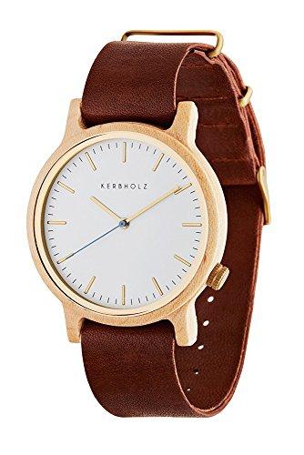 Kerbholz Unisex Erwachsene Analog Quarz Uhr mit Leder Armband 0705184599875