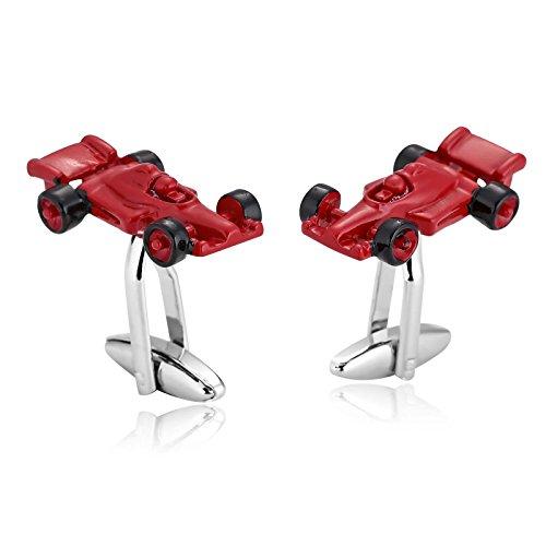 Formel Lilie (Gnzoe Herren Manschettenknöpfe Edelstahl Schwarz Rot Rennwagen Formel 1 Paare Hemd Manschetten Knöpfe mit Kasten)