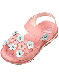 Huhua-Baby Sandal Sandals for Boys, Sandali Bambini Rosa Hot rosa, Nero (Nero), 19 EU