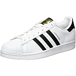 adidas Originals Unisex-Erwachsene Superstar Low-Top Sneakers, Weiß (FTWR White/Core Black/FTWR White), 44 2/3 EU (10 Herren UK)