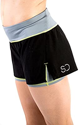 Sundried Womens Gym Shorts Running Fitness and Training 2-In-1 Black Short Shorts