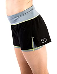 Sundried Womens Gym Shorts by Running Fitness and Training 2-In-1 Black Short Shorts