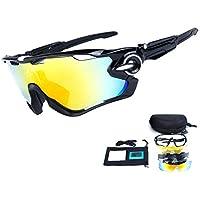 e56842faf3 TOPTETN Gafas de Sol Deportivas polarizadas Protección UV400 Gafas de  Ciclismo con 5 Lentes Intercambiables para