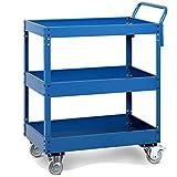 QIN.J.FANG- Servierwagen 3-Tier-Werkstattwerkzeug-Wagen, Hochtemperatur-Backverfahren Assembled Tool Trolley Cart, Lager 150KG,Blue