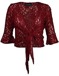 New Ladies Plus Size Lace Tie Bolero Top Sequins Flared 3/4 Sleeve Shrug 12-26 (12, Wine)