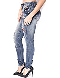 Jeans slim délavé à patch