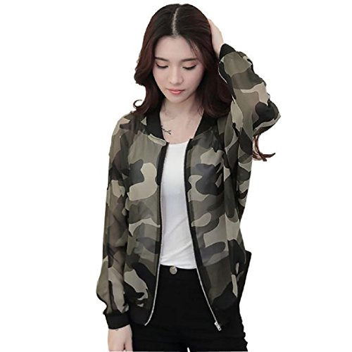 Tongshi Las mujeres del collar del soporte de la cremallera de manga larga chaqueta de bombardero camuflaje Impreso (EU 38 (Asia L))