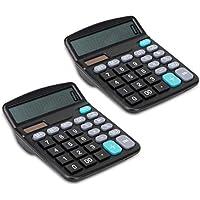 JZK 2 x Calcolatrice elettronica da tavolo tasti grandi alimentazione con energia solare o batterie AA calcolatrice economica 12 Cifre per ufficio scuola casa