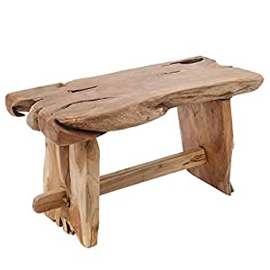 Massivholz Baumstamm Bank NATURE ROOT 80cm Teak Holz