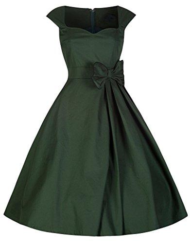 Marloca Damen Partykleid / Swingkleid, fester Kragen, Taillen-Schleife, ausgestellter Rock, im Stil der 1940er / 1950er, Vintage- / Retro-Design, Rockabilly-Stil Grün