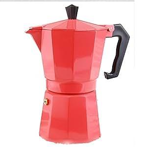 TAMUME Italienischen Espresso Moka Kaffeemaschine Farbe Aluminium Espressokocher , 6 Tassen, 240ML – Rosa Moka Pot