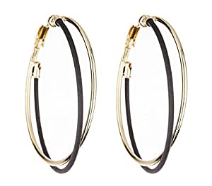 clip on hoop earrings gold plated with black and gold