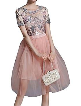 En Verano La Perspectiva Flores Bordadas Princesa Gasa Vestido