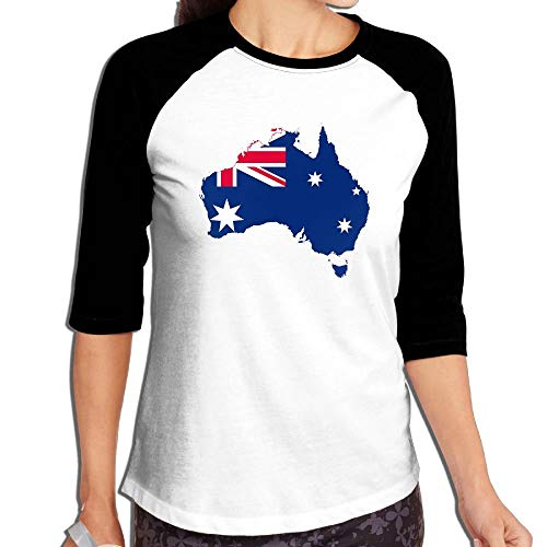 FHddg Womens Australia-Flag-Map 3/4 Sleeve Raglan Tee - Womens 3/4 Sleeve Raglan Tee
