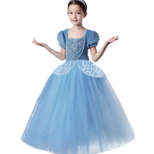 (Mädchen Cinderella Kostüm Prinzessin Fee Cosplay Karneval Kleid Weihnachts Festlich Outfit Kinder Kurzarm Spitze Tüll Ballkleid Hochzeit Geburtstag Festzug Tutu Glanz Party Lang Festkleid Blau 4)