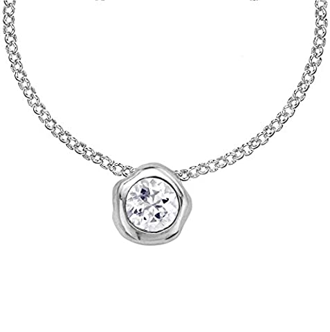 Dower & Hall Dewdrop Silver 6mm White Topaz Beaten Nugget Pendant on Trace Chain of Length 46cm