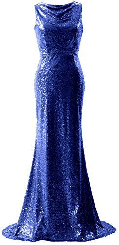 MACloth Elegant Sequin Bridesmaid Dress Mermaid Long Simple Prom Formal Gown Royal Blue