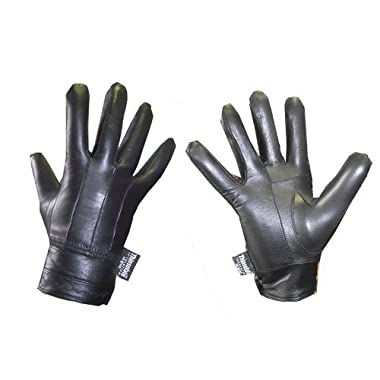 Ladies Designer Seamed Button Fasten Thermal Fleece Lined Leather Driving Glove