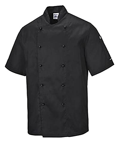 Portwest C734BKRM Kent Chefs Jacket, Regular, Medium, Black