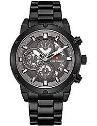 50a248c6cdde FAERDUO Reloj para Hombre Cronógrafo Reloj de Cuarzo analógico Resistente  al Agua 30 Metros Partido Pulsera