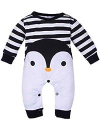 Vovotrade 0-5 Años Manga Larga Animal Dibujos Animados Encantador Pingüino Impresión Mameluco Mono Pijama