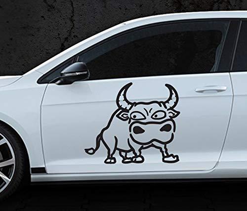 Autoaufkleber Kuh Bulle böse sauer cool lustig Tier Stier Auto Sticker Aufkleber lustig Motorrad 1L350, Farbe I:Rot glanz, Größte Seite:25cm