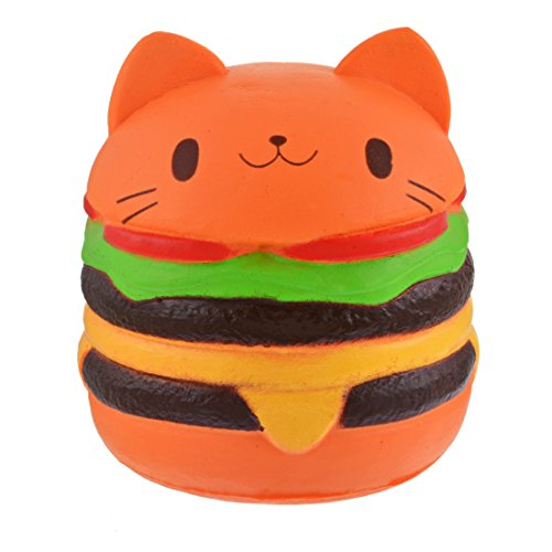HIFUAR Hamburger Cat Slow Rising Jumbo Squishies Kawaii Scented Toy Extrusion Rebound Plaything for Adult and Kids (9.5cmx10.5cm)